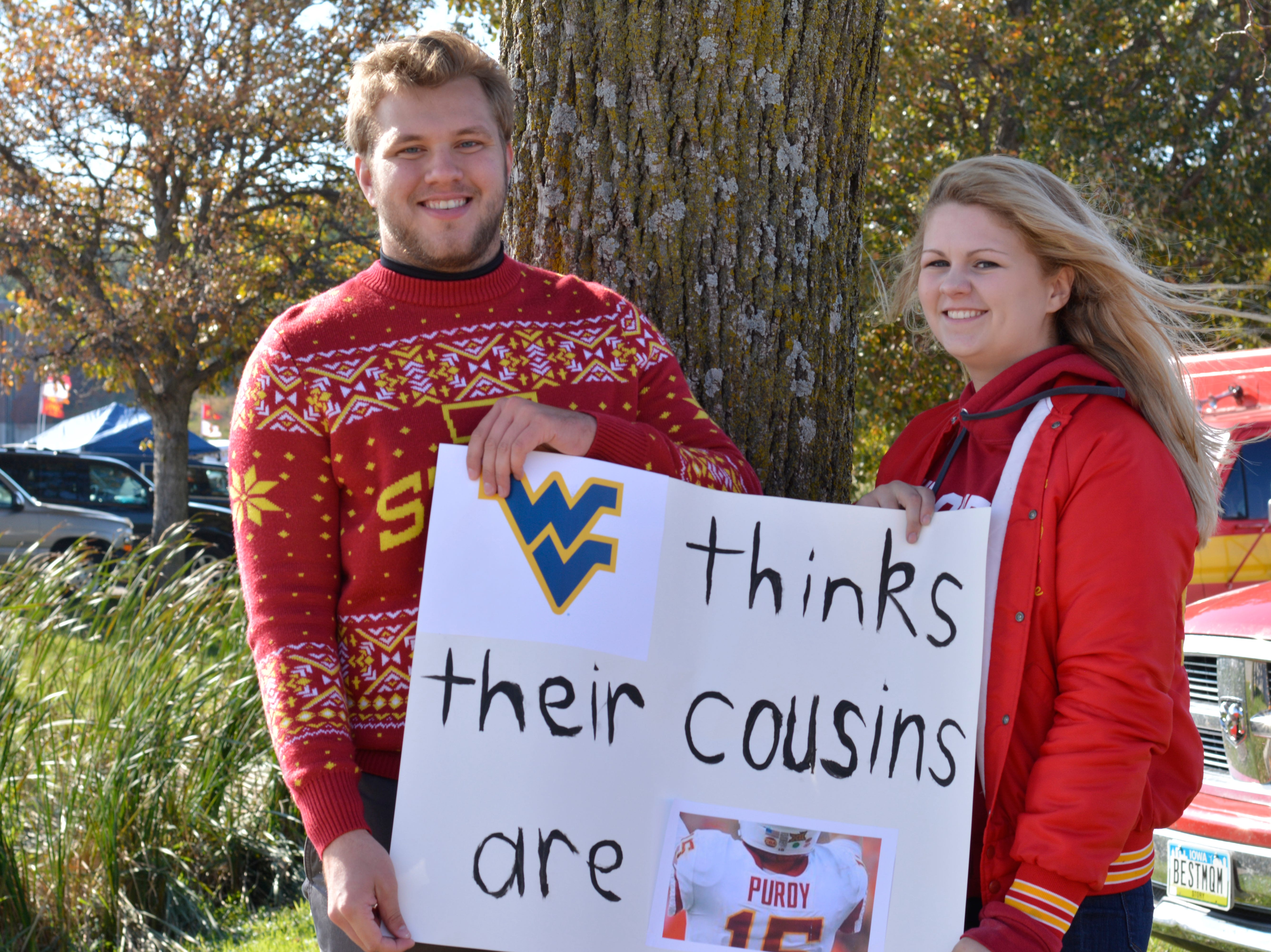 Colton Wood and Abby O'Neill before the Iowa State University football game against West Virginia in Ames on Oct. 13.