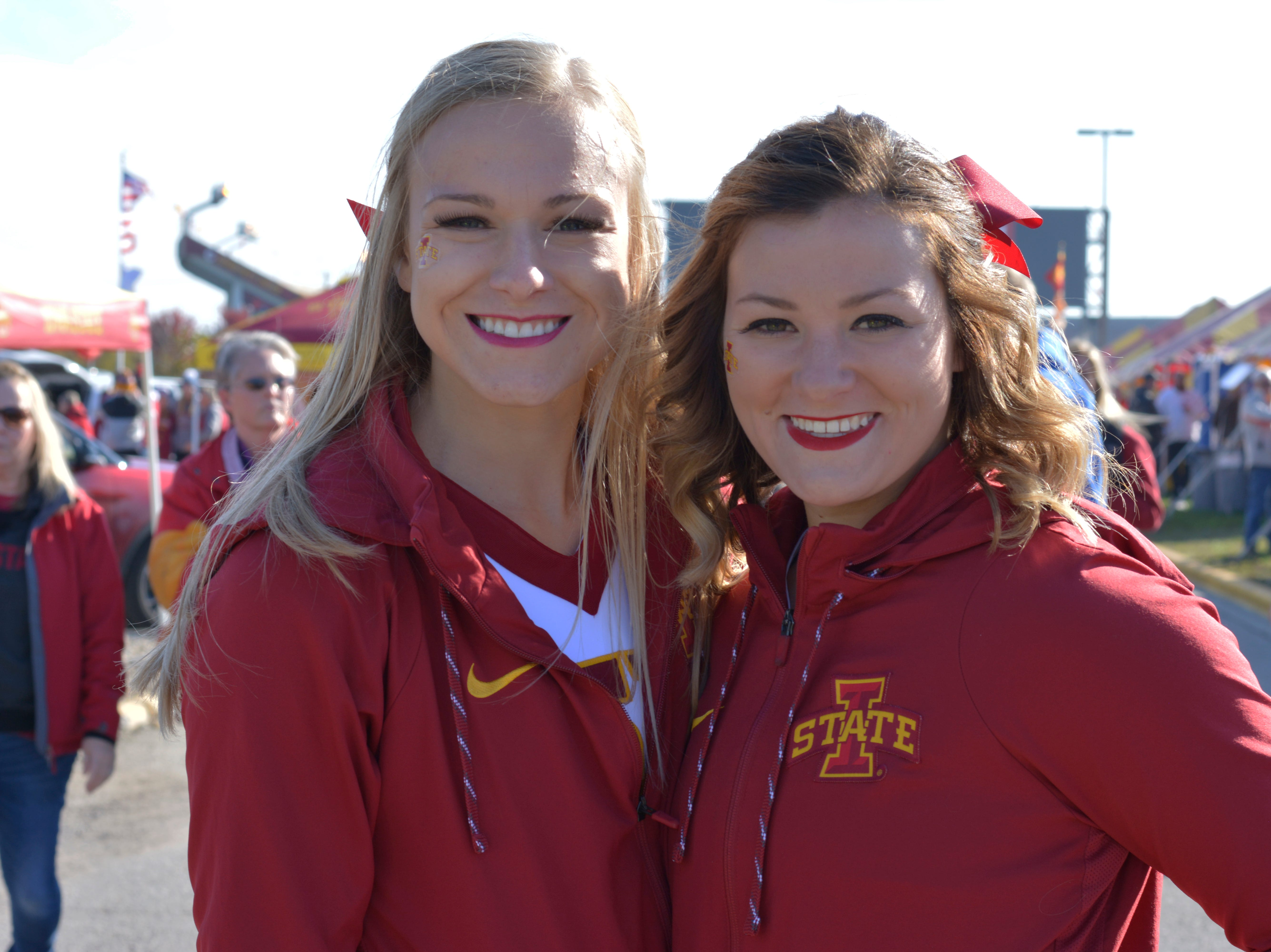 Lauren Kinney (left) and Molly Sweeden (right) before the Iowa State University football game against West Virginia in Ames on Oct. 13.