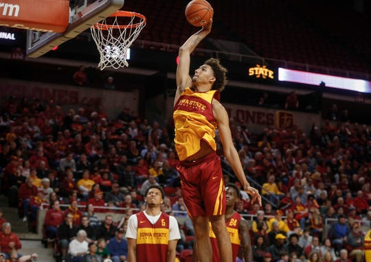 George Conditt IV heads to the hoop for a dunk during Hilton Madness at Hilton Coliseum in Ames on Friday, Oct. 12, 2018.