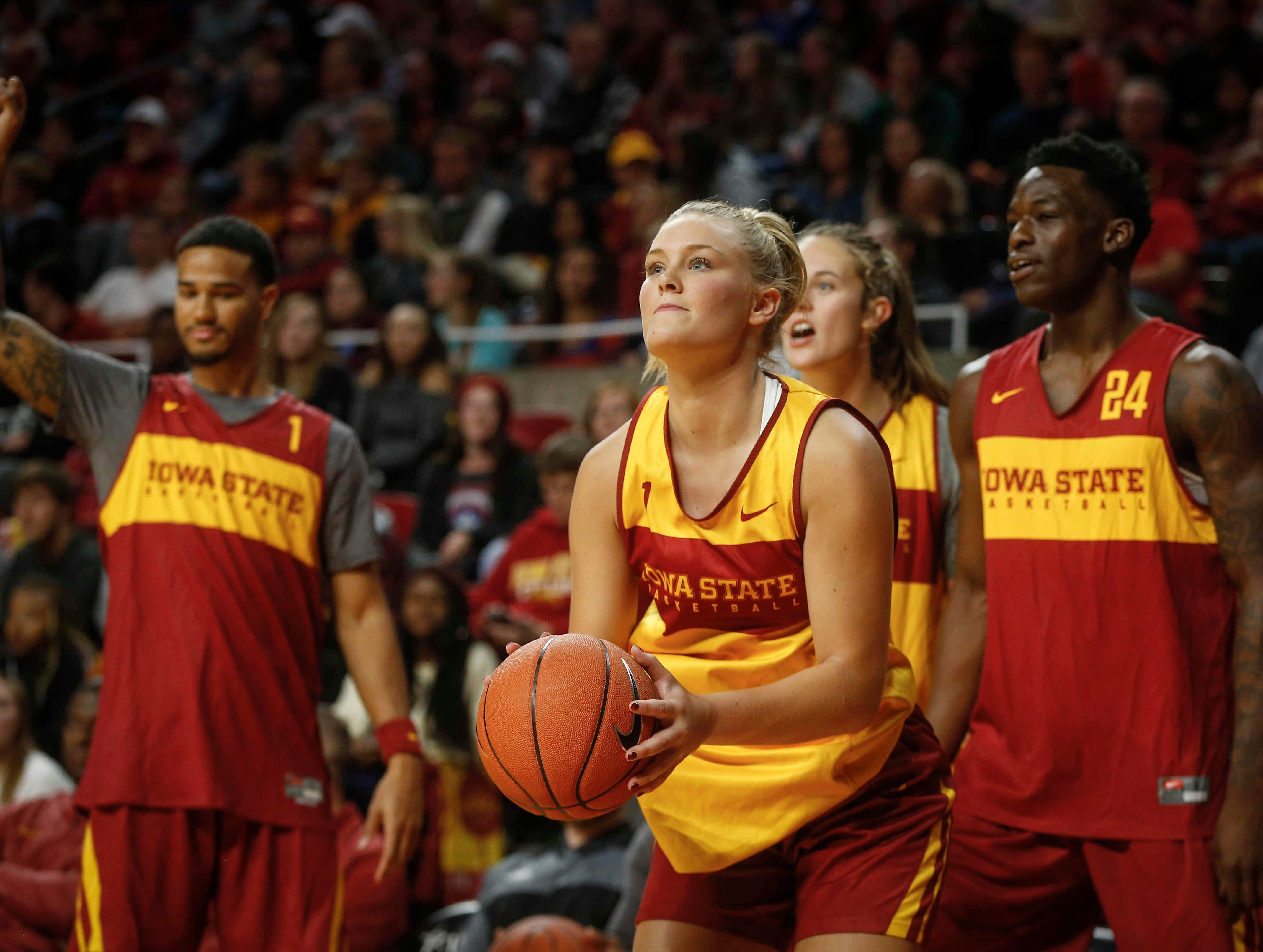 Iowa State's Madison Wise lines up a shot behind the three point line during Hilton Madness at Hilton Coliseum in Ames on Friday, Oct. 12, 2018.