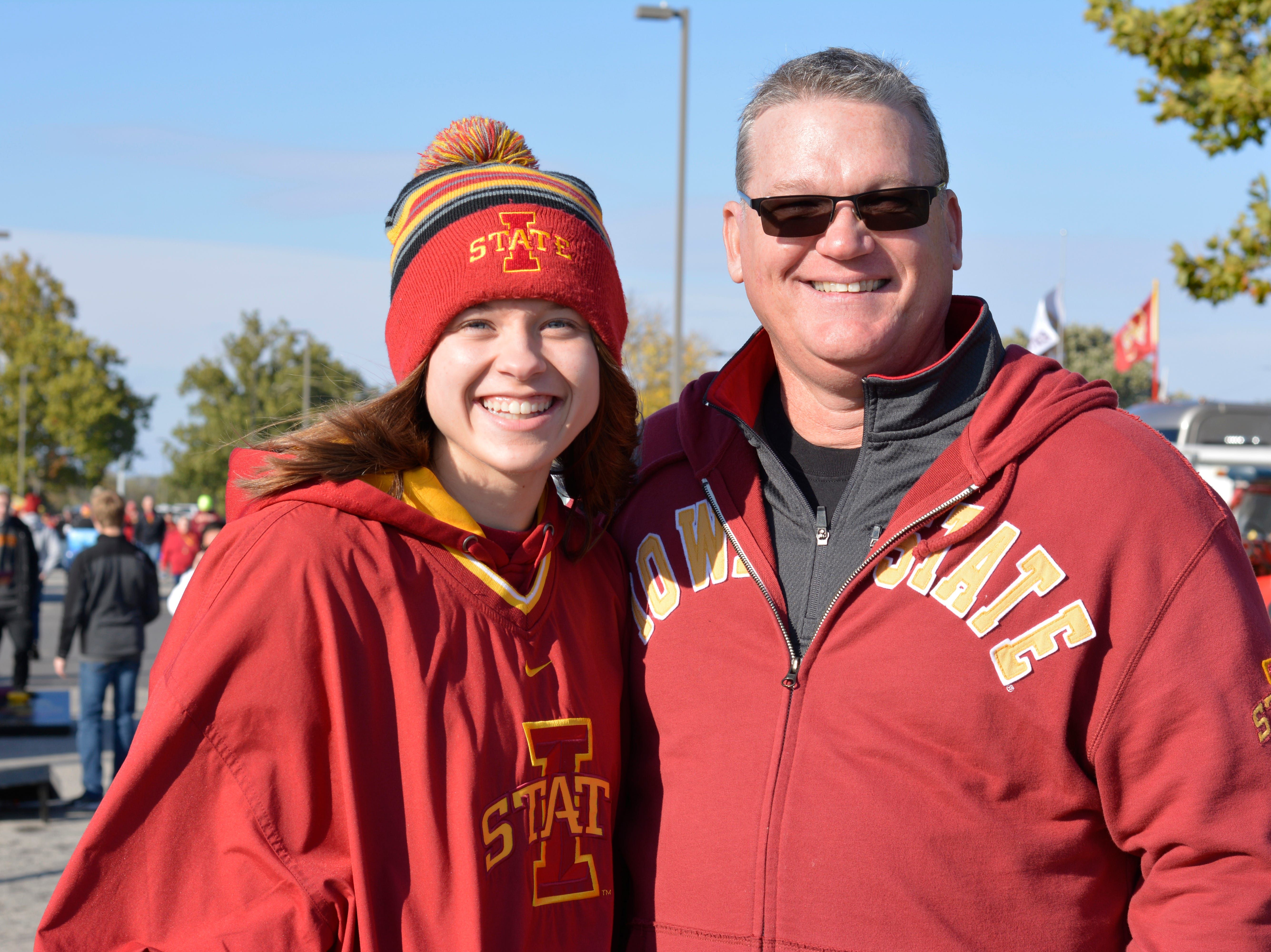 Maddy Danner and Jason Danner before the Iowa State University football game against West Virginia in Ames on Oct. 13.