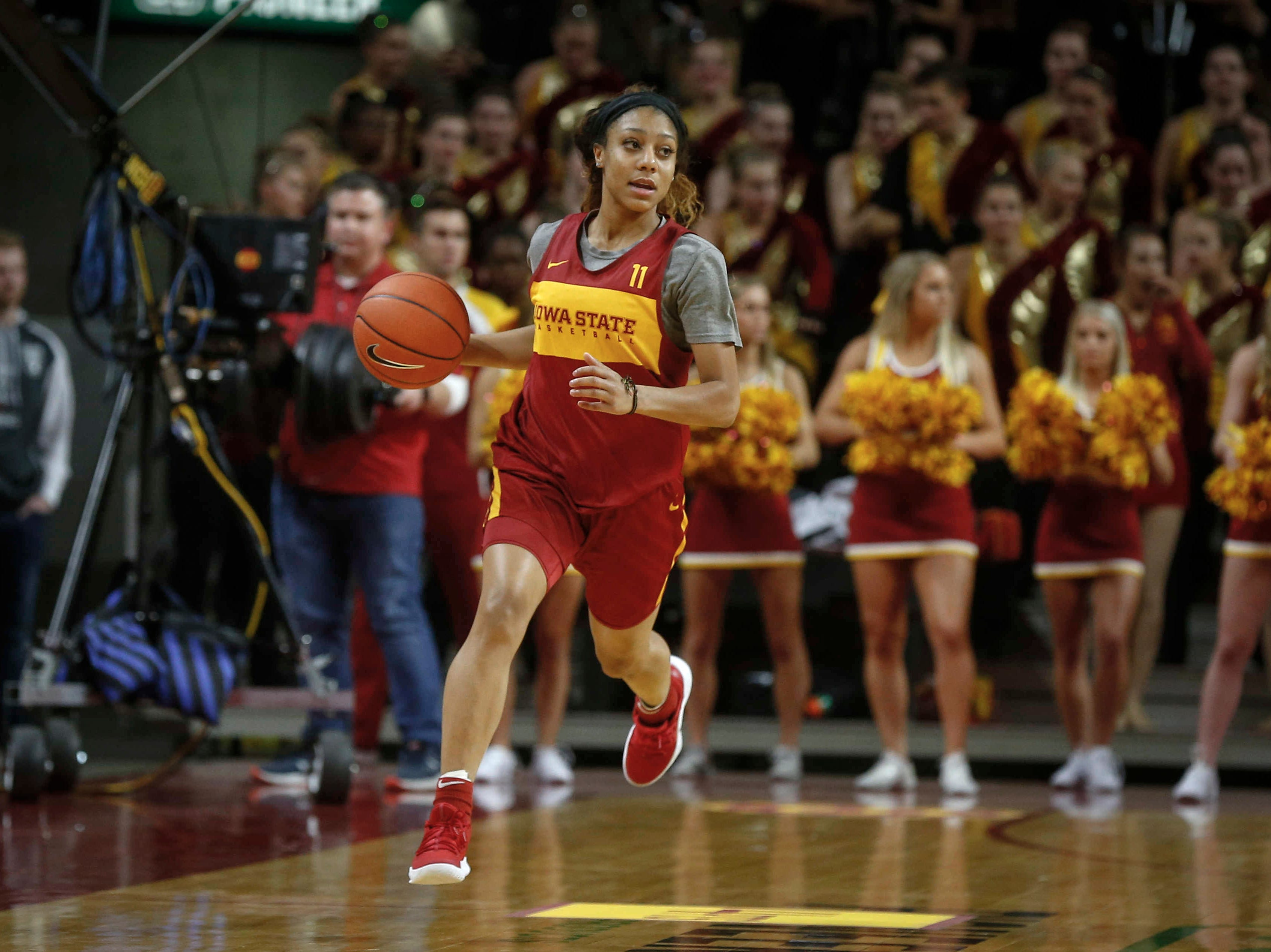 Iowa State junior Jade Thurmon brings the ball up court in a scrimmage during Hilton Madness at Hilton Coliseum in Ames on Friday, Oct. 12, 2018.