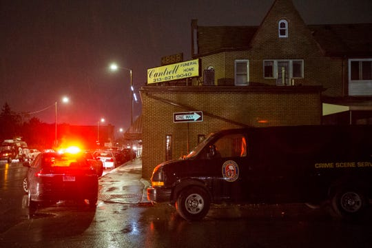 Detroit Police Department is investigating at the Cantrell Funeral Home in Detroit on Friday.