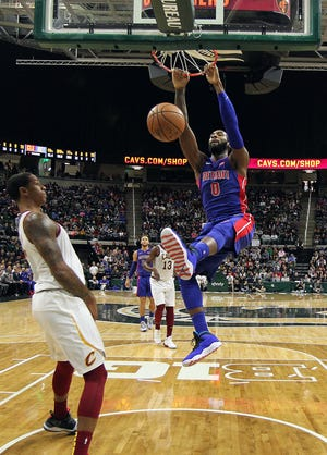 Oct. 12, 2018 in East Lansing: Detroit Pistons center Andre Drummond dunks against the Cleveland Cavaliers during the second half at Breslin Center.