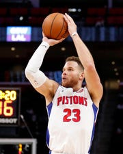 Oct. 10, 2018 in Detroit: Detroit Pistons forward Blake Griffin takes a shot during the fourth quarter against the Washington Wizards at Little Caesars Arena.