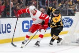 The Detroit Red Wings are debating whether to keep Michael Rasmussen. Video from Friday, Oct. 19, 2018, in Sunrise, Fla.