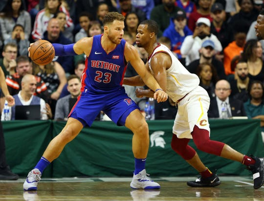 Oct. 12, 2018, East Lansing: Detroit Pistons forward Blake Griffin is defended by Cleveland Cavaliers guard Rodney Hood during the first quarter of a game at Breslin Center.