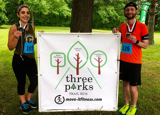 Riva Bitrus, left, and her cousin, Rami Youhana, estimate they have run in about 20 races together.