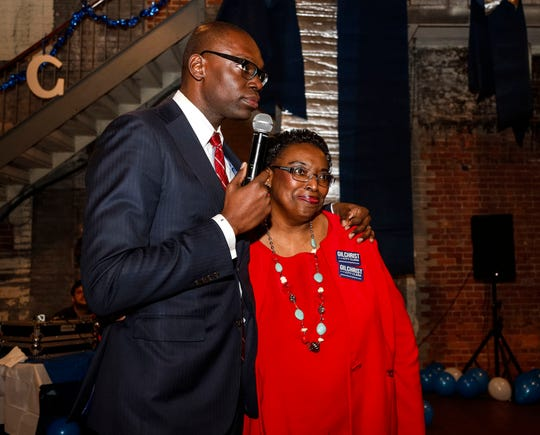 City clerk candidate Garlin Gilchrist speaks to the crowd at his election watch party next to his mother, Yvonne Posey Gilchrist, at the Jam Handy in Detroit, Tuesday, November 7, 2017.