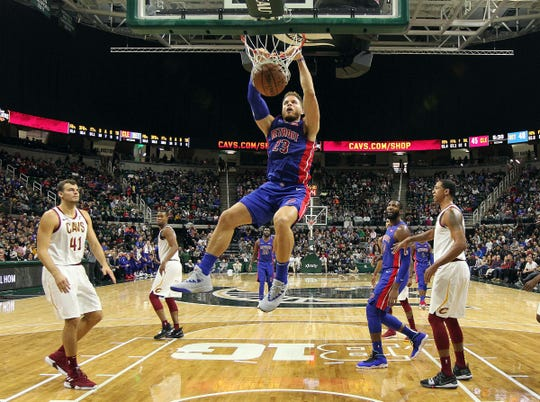 Oct. 12, 2018 in East Lansing: Detroit Pistons forward Blake Griffin dunks against the Cleveland Cavaliers during the second half at Breslin Center.