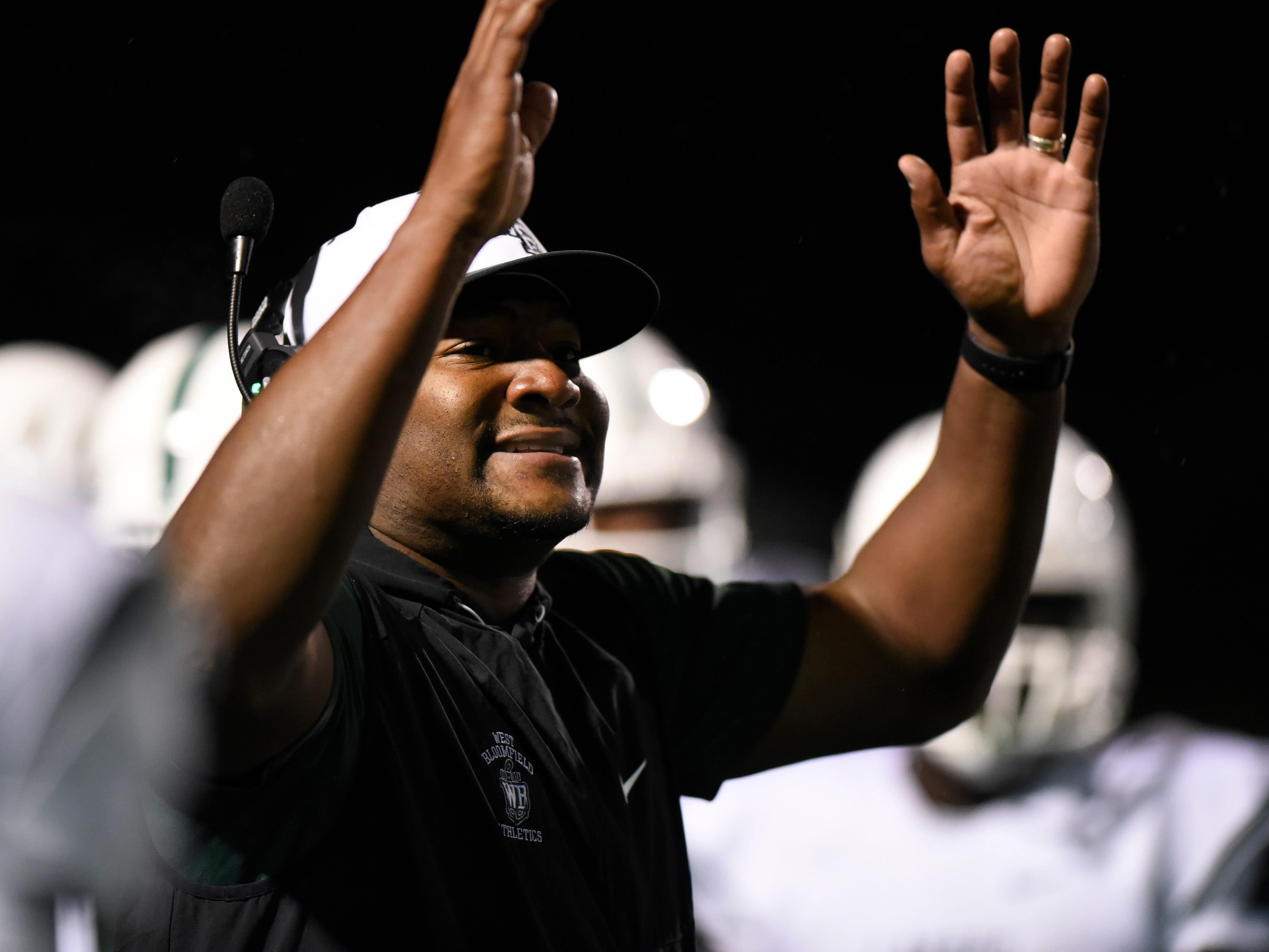 West Bloomfield head coach Ron Bellamy reacts as his team played against Oak Park during the third quarter.