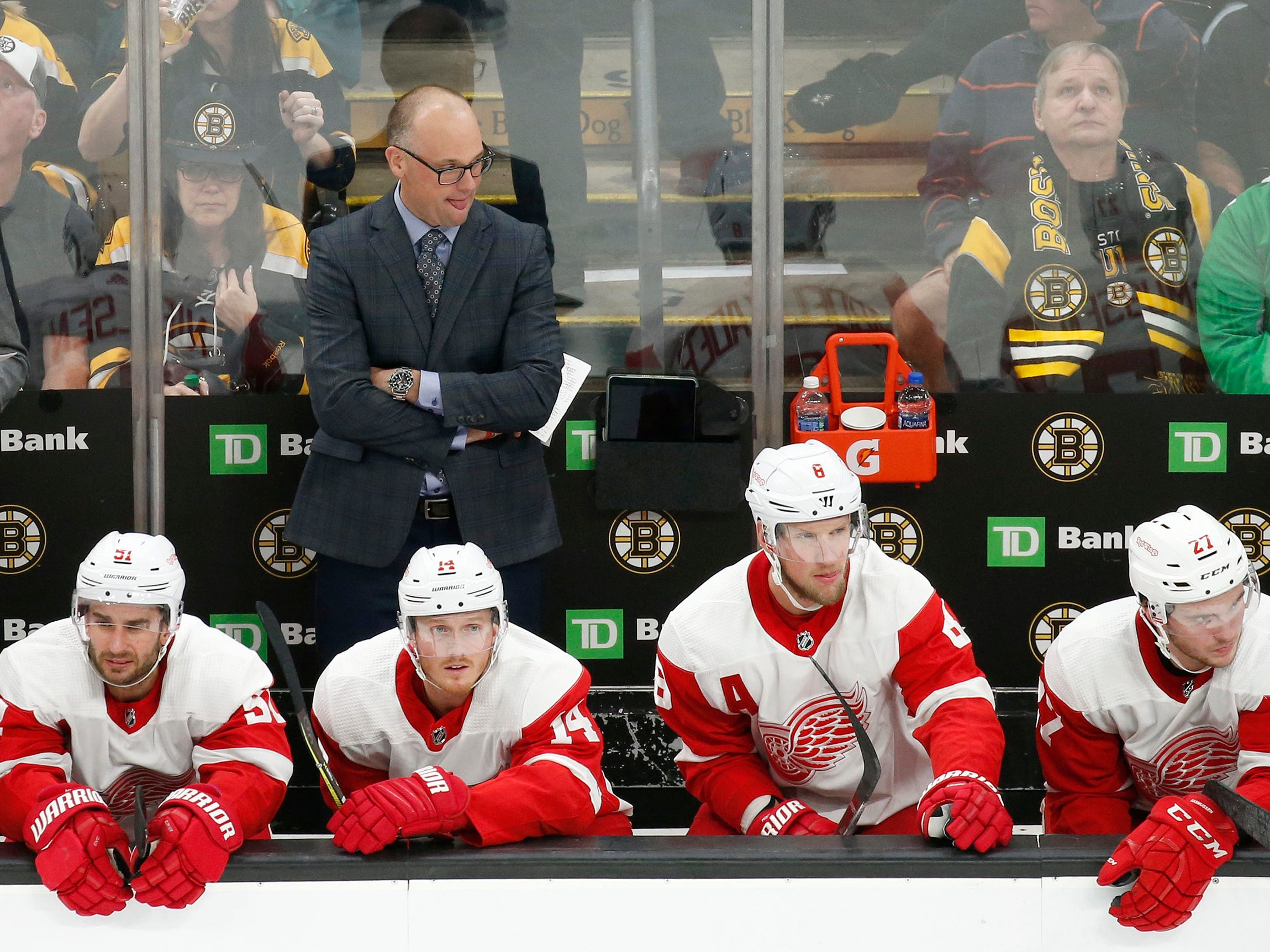 Detroit Red Wings head coach Jeff Blashill looks on from the bench during the third period.