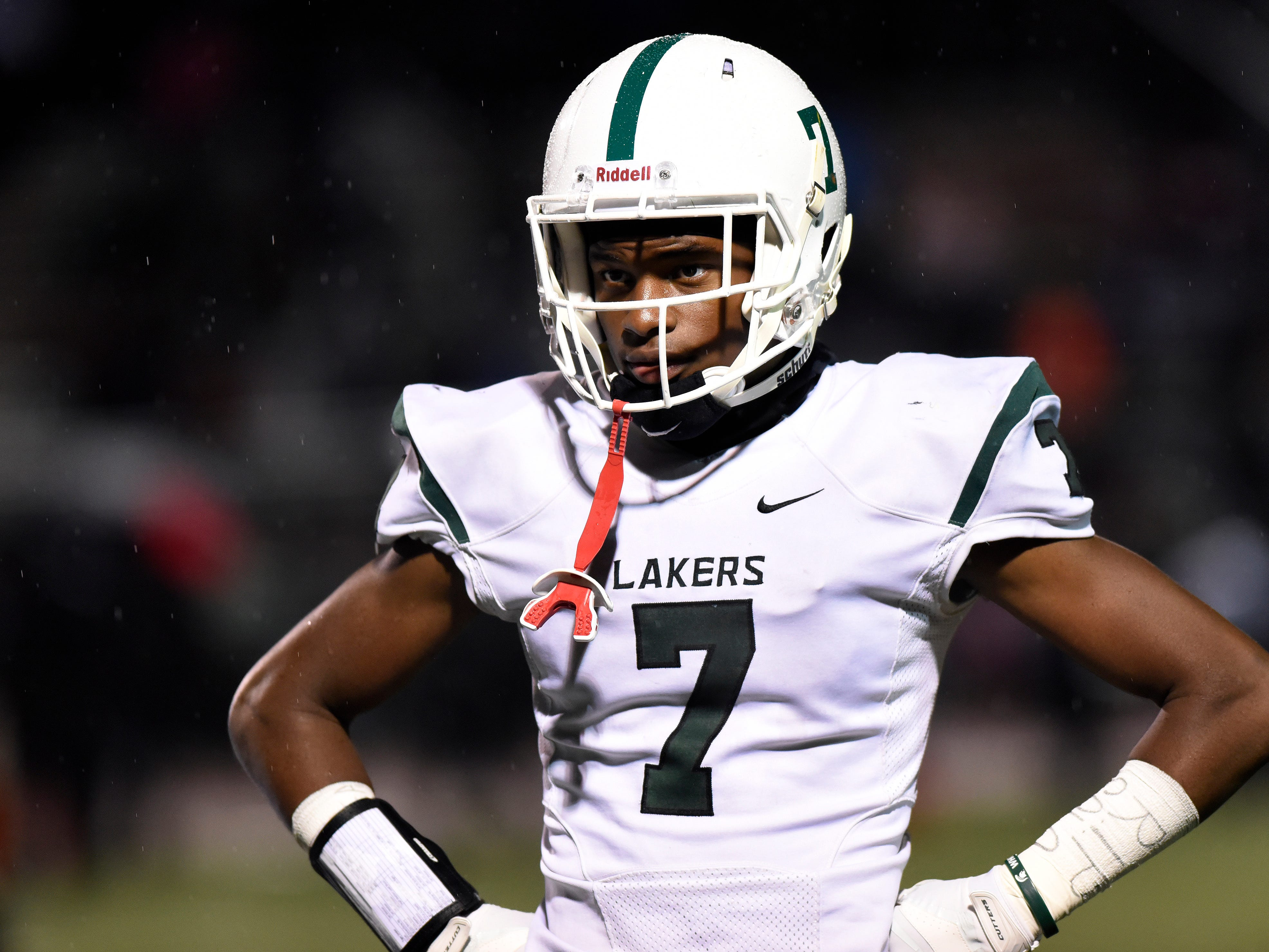 West Bloomfield wide receiver Tre Mosley (7) watches during a break against Oak Park in the fourth quarter.