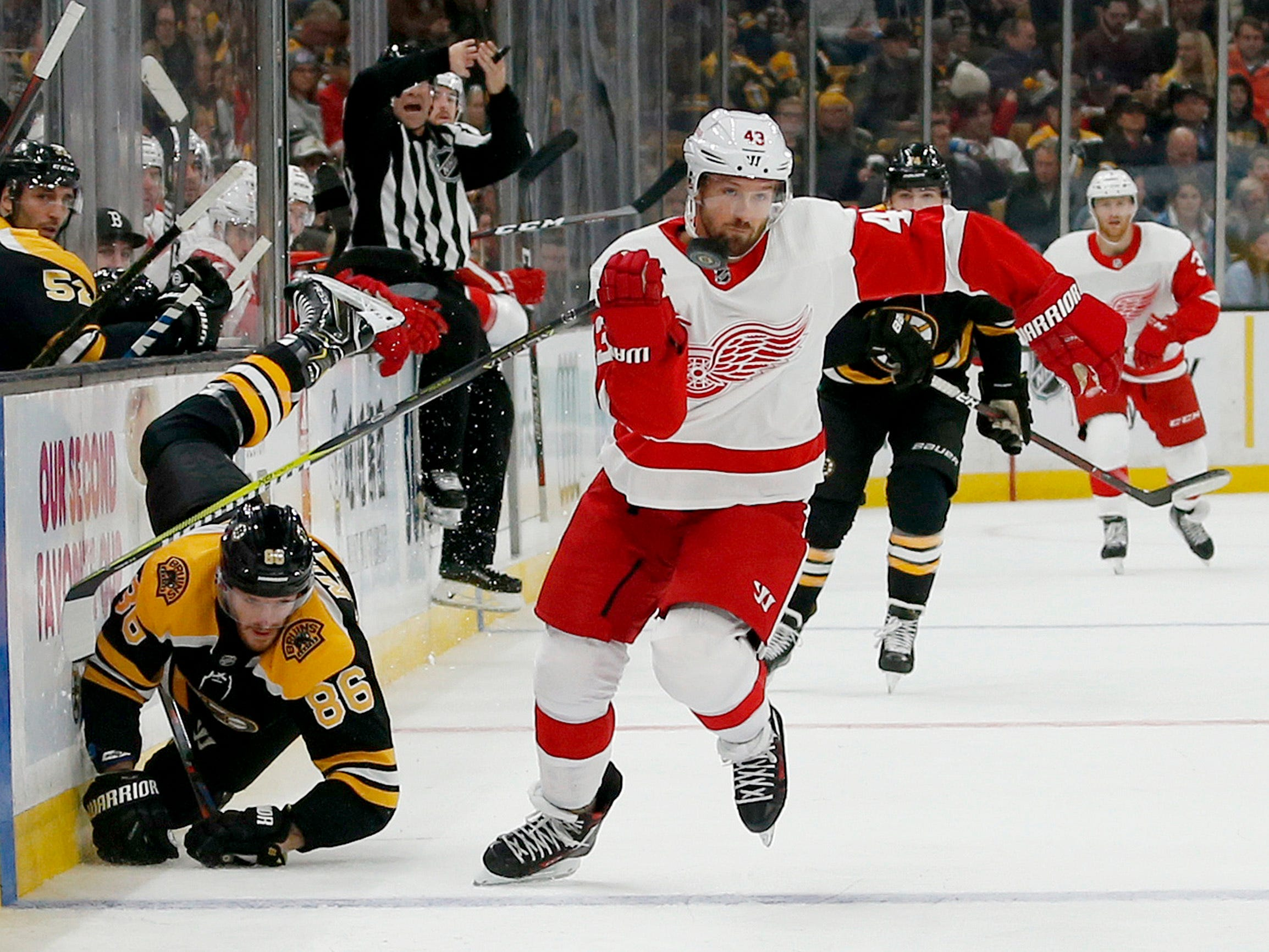 Detroit Red Wings left wing Darren Helm (43) keeps an eye on the puck as Boston Bruins defenseman Kevan Miller (86) falls to the ice during the first period.
