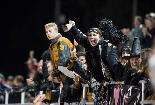 Boonville fans cheer from the stands after the Pioneers score a touchdown against Mount Carmel at Bennett Field on Friday, Oct. 12, 2018.