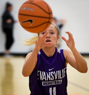 University of Evansville Aces guard Brooke Dossett catches a pass while running drills in practice at the Carson Center Thursday. The grad student has been diagnosed with multiple sclerosis, after receiving a medical red shirt she hopes to continue to play and inspire others who have MS, October 11, 2018.