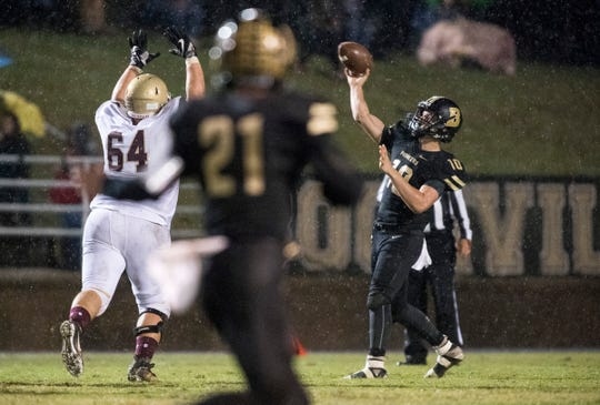 Boonville's Jackson Phillips (10) passes the ball during the Boonville vs Mount Carmel game at Bennett Field Friday, Oct. 12, 2018. The Pioneers beat the Golden Aces 40-12 earning the Big Eight title.