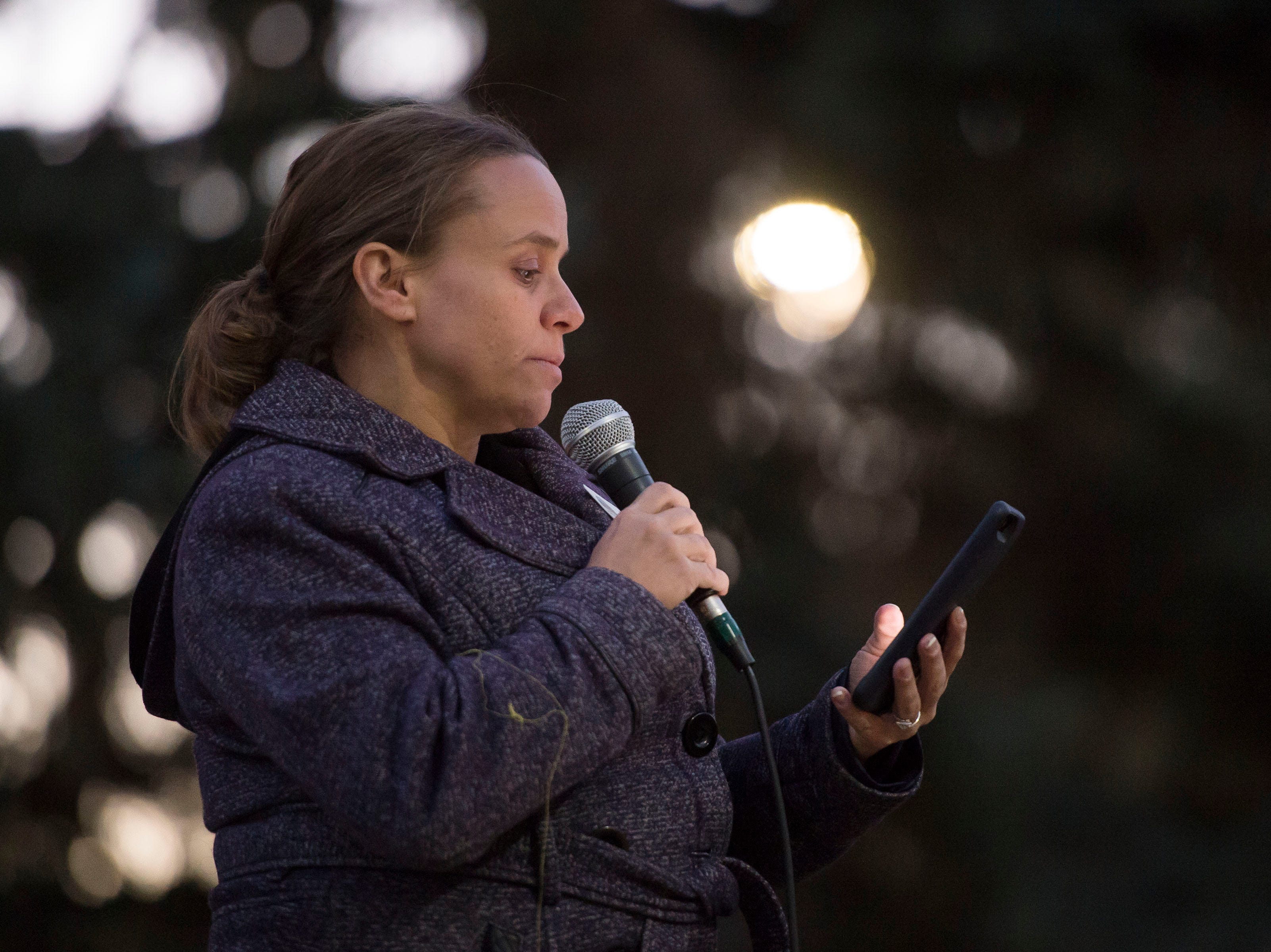 Laramie Mayor Andi Summerville speaks to the crowd during a candlelight vigil on the 20th anniversary of Matthew Shepard's death on Friday, Oct. 12, 2018, at Prexy's Pasture on the University of Wyoming campus in Laramie, Wyo.
