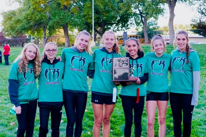 The Fossil Ridge High school girls cross country team won Friday's Front Range League title. Pictured are Caitlin Hunt, Dylan Luciani, Allison Edwards, Anya Tkachenko, Lena Fogarty, Olivia Dickinson and Billie Fogarty.