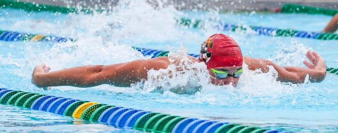 Boys 100 Fly: Kirk Klemm, North Fort Myers, took 2nd with a time of 55.40. LCAC Swimming championships held at FGCU, October 13, 2018.
