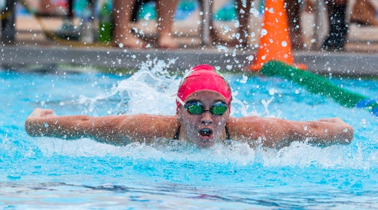 Olivia McMurray, Fort Myers, won the Girls 100 Fly. Carolina Loayza came in second.  LCAC Swimming championships held at FGCU, October 13, 2018.  LCAC Swimming championships held at FGCU, October 13, 2018.