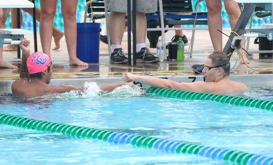 Riverdale's Jace Chouinard placed first in the Boys 100 Free. Martin Vasquez, Cape Coral challenged him at 2nd place with a time of 52.17 LCAC Swimming championships held at FGCU, October 13, 2018.