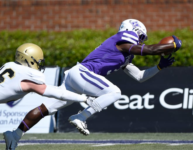 Furman tailback Darius Morehead (3) dives into the end for his team's first score against Wofford.