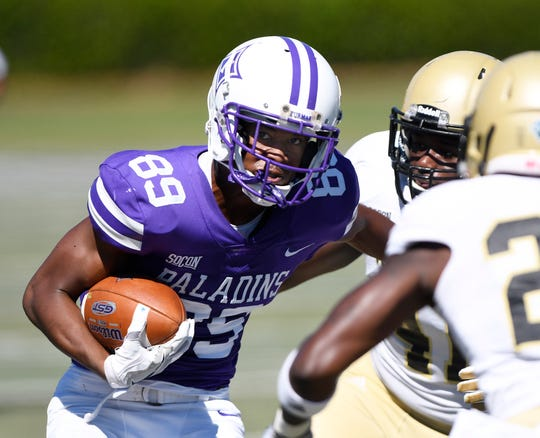 Furman wide receiver Thomas Gordon (89) works for yards after a catch against Wofford.