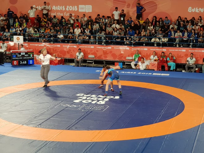 Kaetlyn Quintanilla competes in women's freestyle wrestling against Mexico's Andrea Lopez Martinez at the Buenos Aires Youth Olympic Games on Oct. 13, 2018.