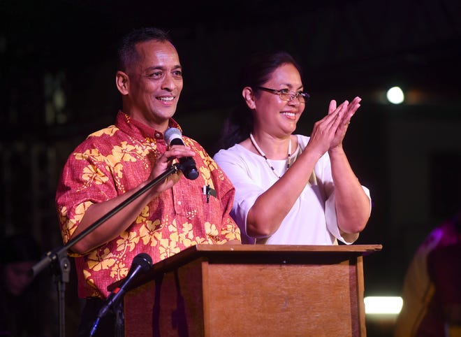 Sen. Frank Aguon Jr. and Alicia Limtiaco announce their write-in candidacy for governor and lieutenant governor of Guam during a rally in Anigua, Oct. 13, 2018.