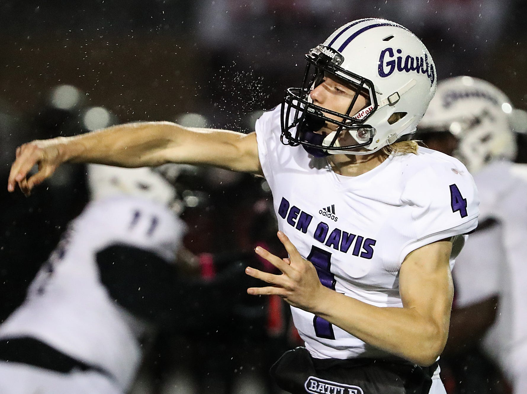 Ben Davis Giants quarterback Trent Gipson (4) passes in the first half of the game at North Central High School in Indianapolis, Oct. 12, 2018.