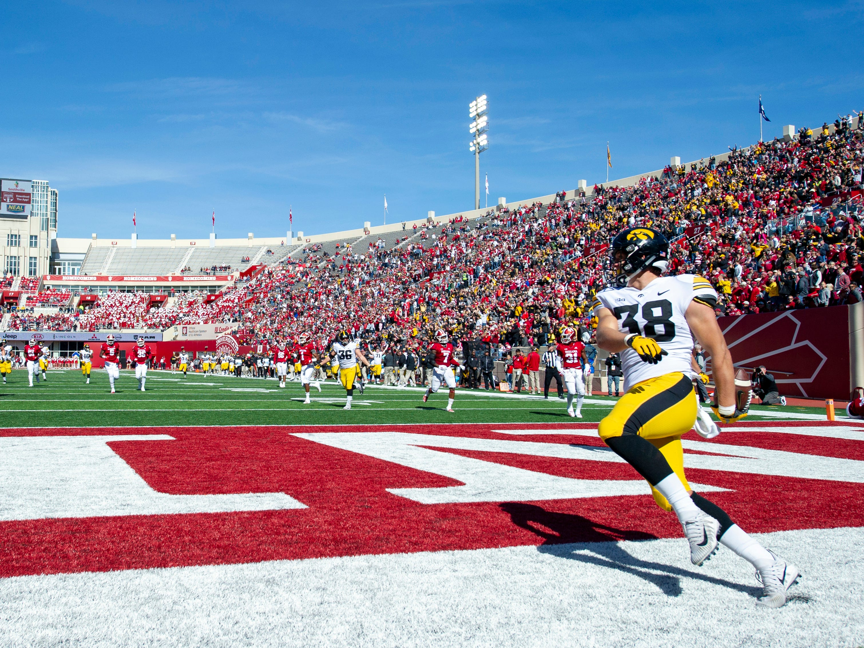 Iowa tight end T.J. Hockenson (38) reacts in the end zone after scoring a touchdown in the second half of an NCAA college football game Saturday, Oct. 13, 2018, in Bloomington, Ind. Iowa won 42-16.
