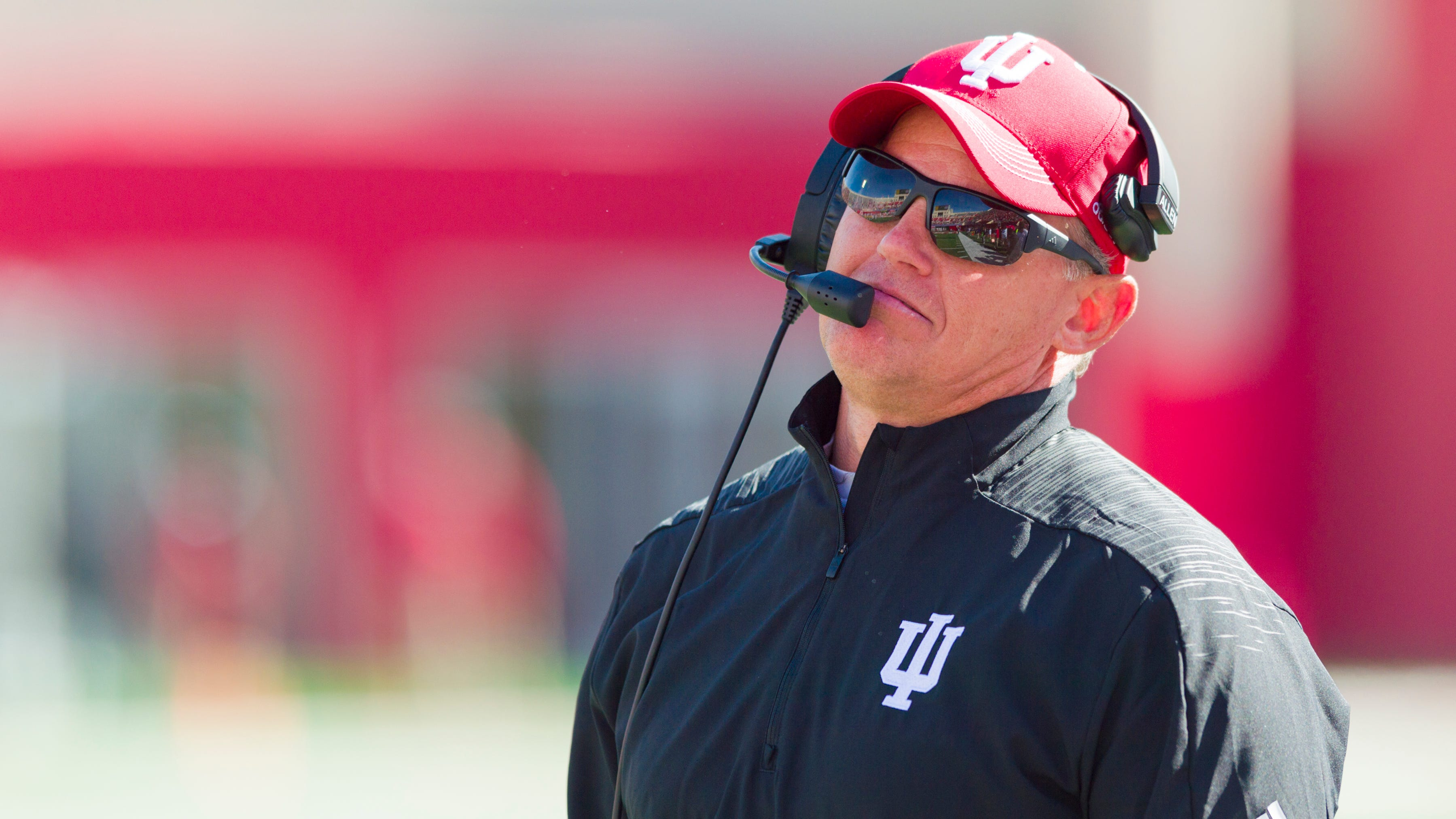 Indiana head coach Tom Allen reacts to a call by the officials during the second half of an NCAA college football game against Iowa, Saturday, Oct. 13, 2018, in Bloomington, Ind. Iowa won 42-16.