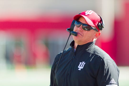Indiana coach Tom Allen reacts to a call by the officials during the second half of the Hoosiers game Saturday against Iowa in Bloomington. Iowa won 42-16.