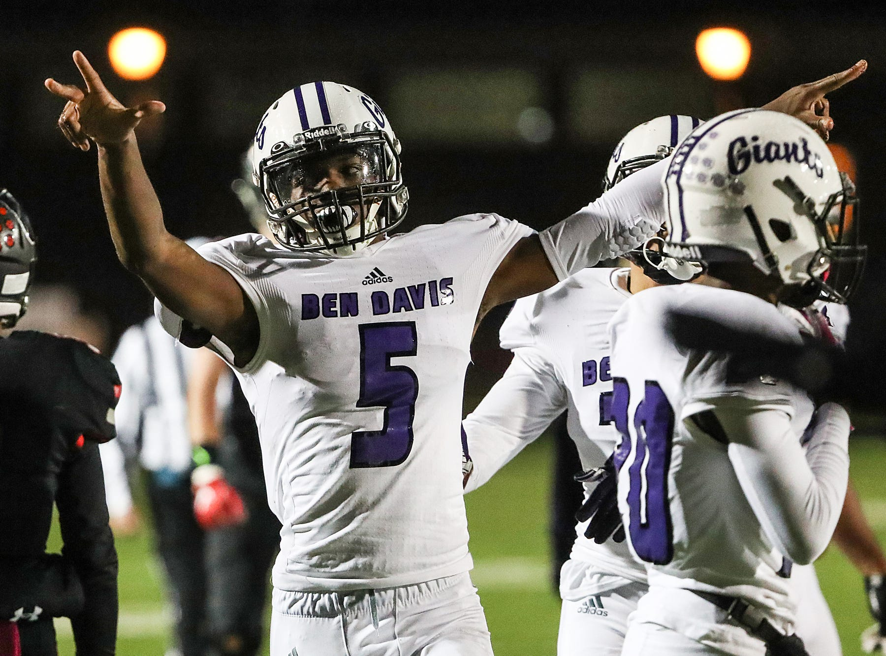 Ben Davis Giants Arrion Dodds (5) celebrates after blocking a pass meant for North Central Panthers Tre'von Elliott (9) in the second half of the game at North Central High School in Indianapolis, Oct. 12, 2018. North Central won, 38-23.