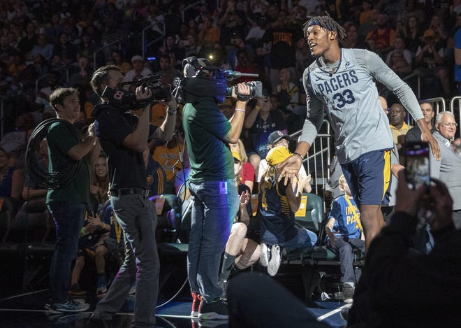 Myles Turner takes the court during the Pacers FanJam to kick off the 2018-2019 season, Sunday, Sept. 30, 2018. A scrimmage was played, along with a photo session with players, a three-point contest, and performances by the Pacers Power Pack gymnasts, and Pacemates dance team.