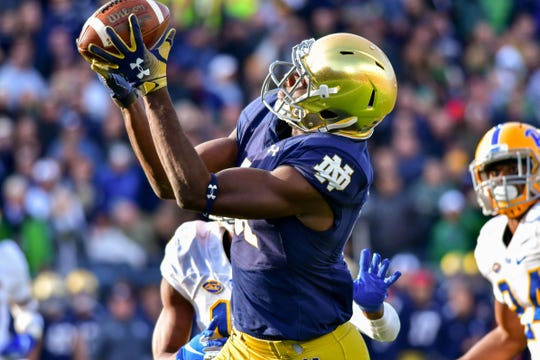 Miles Boykin hauls in the game-winning catch Saturday for a touchdown in the fourth quarter against the Pittsburgh Panthers.
