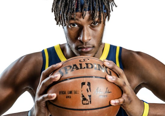 Indiana Pacers center Myles Turner (33) poses for a portrait during the Pacers' media day at Bankers Life Fieldhouse on Monday, Sept. 24, 2018.