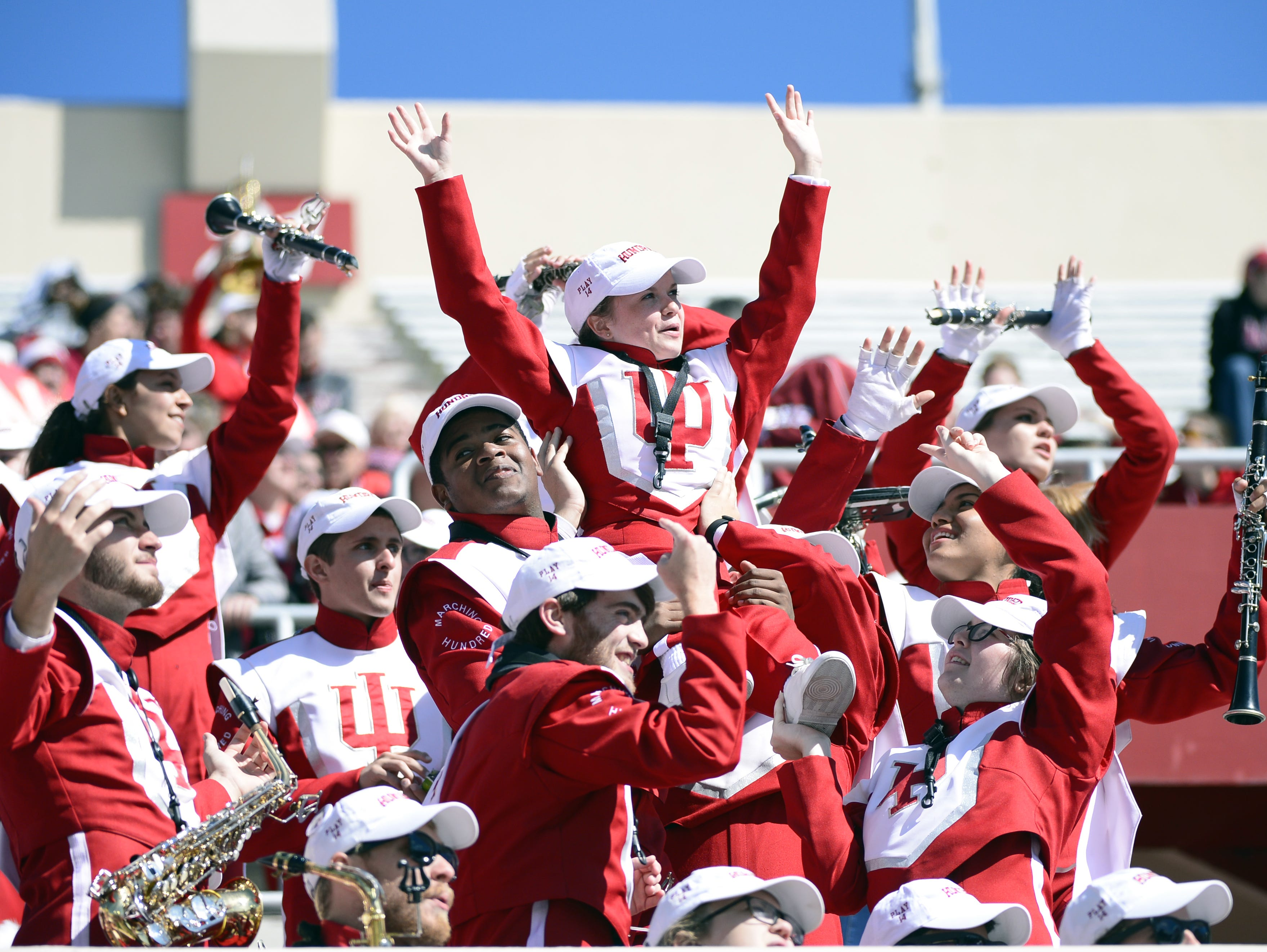 The Indiana Hoosiers marching band cheers during the game against Iowa at Memorial Stadium in Bloomington, Ind., on Saturday, Oct. 13, 2018.