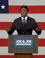Indiana Pacers' Victor Oladipo speaks during a rally for Democratic Sen. Joe Donnelly, Friday, Oct. 12, 2018, in Hammond, Ind. (AP Photo/Darron Cummings)