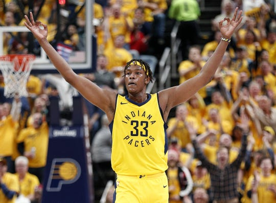 Indiana Pacers center Myles Turner (33) celebrates a Pacers three-pointer during the second half of Game 6 at Bankers Life Fieldhouse on Friday, April 27, 2018.