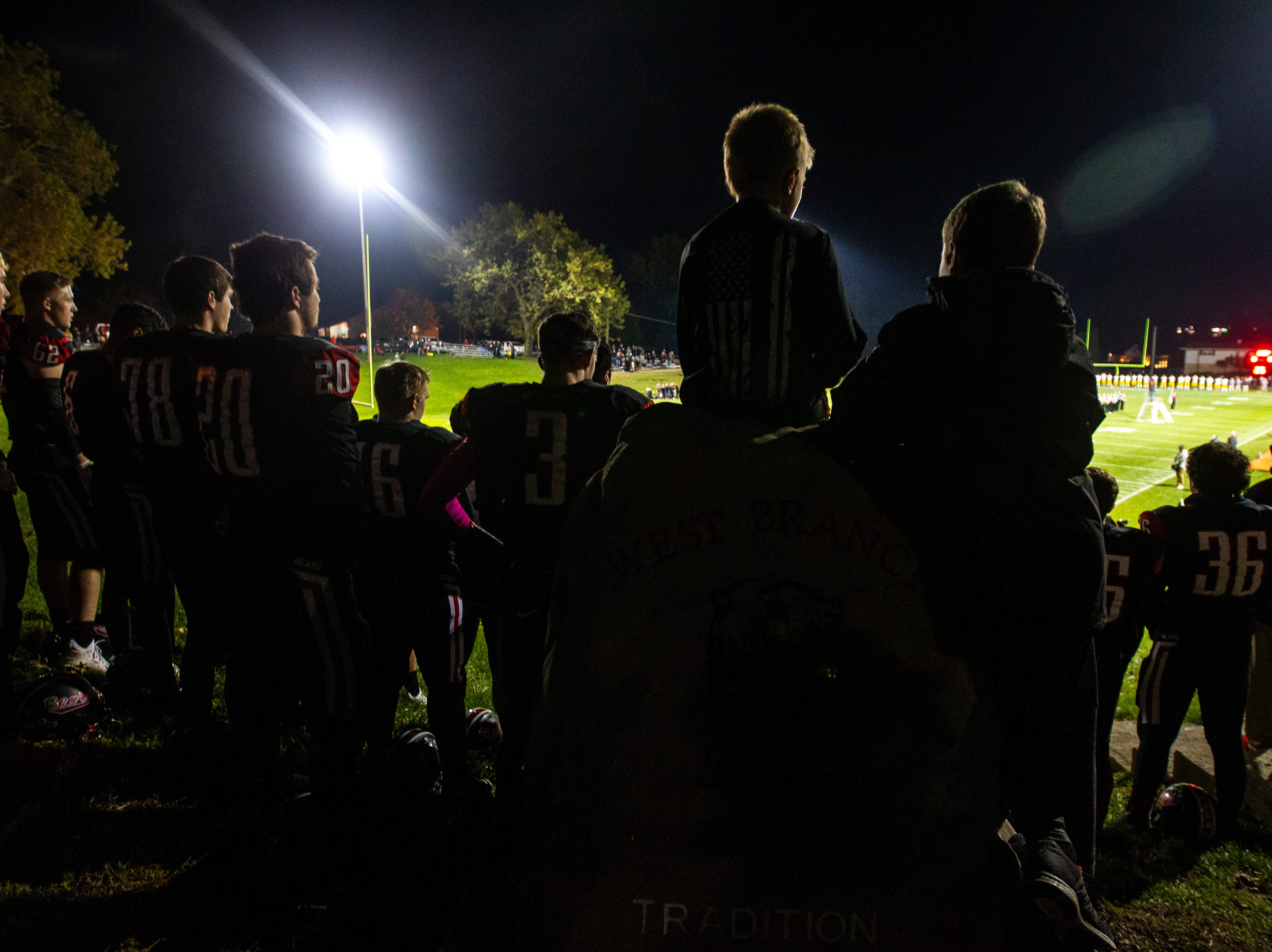 West Branch prepare to take the field before a Class A varsity football game on Friday, Oct. 12, 2018, at the Little Rose Bowl in West Branch, Iowa.