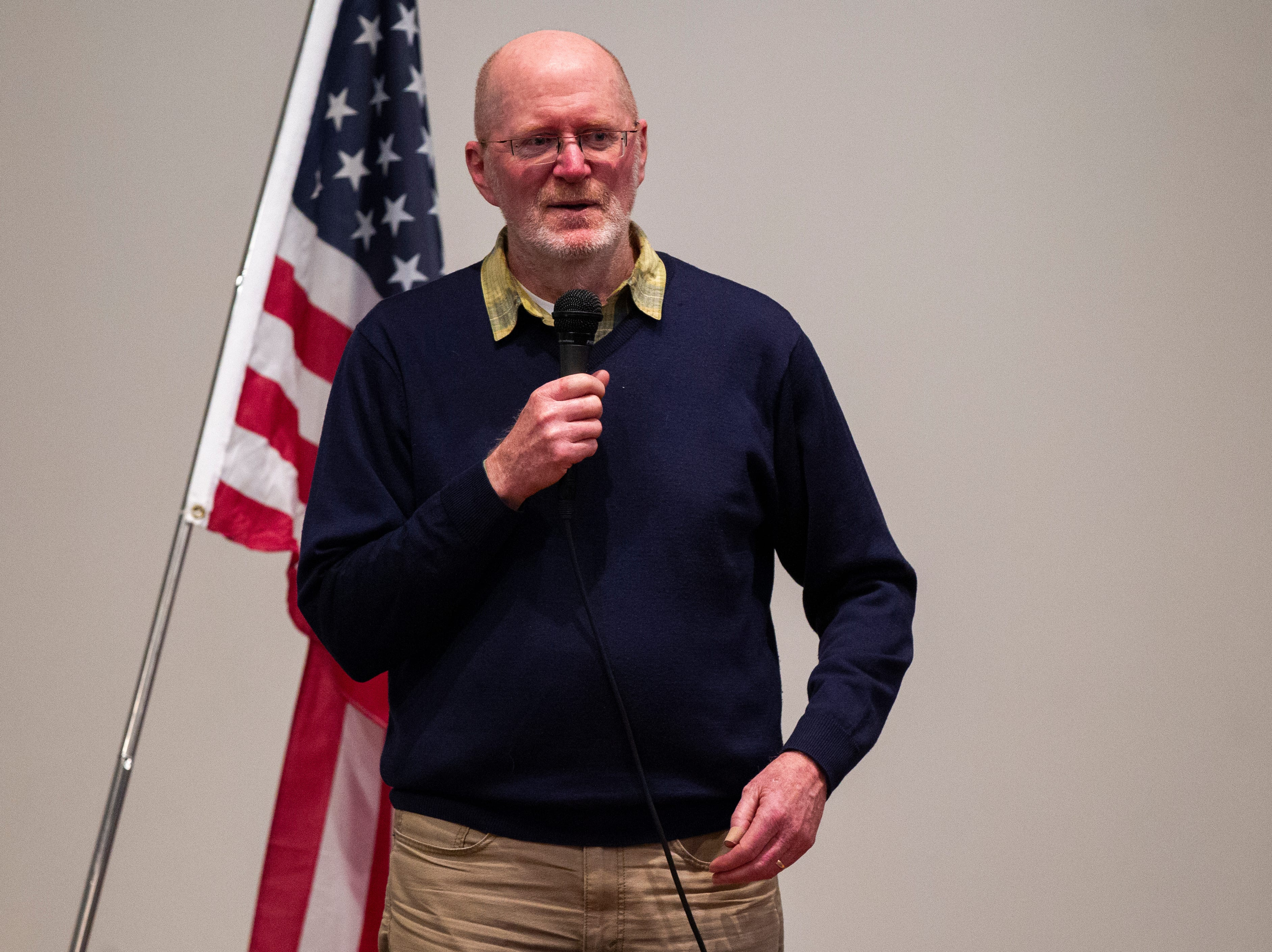 Iowa City Mayor Jim Throgmorton speaks before a swearing in ceremony for Iowa City councilor Bruce Teague on Saturday, Oct. 13, 2018, at the Church of Nazarene on Wade Street in Iowa City.