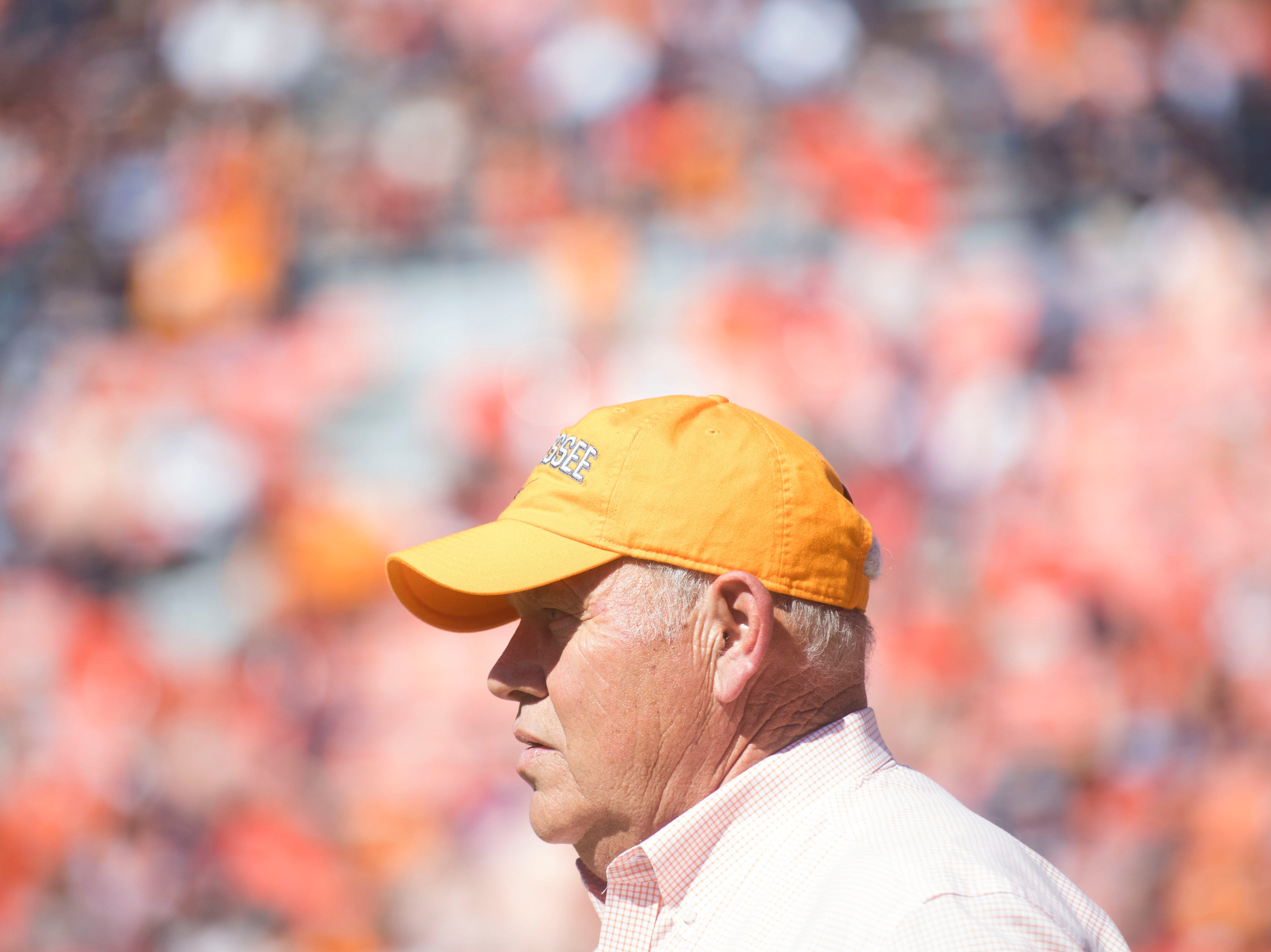Tennessee Athletic Director Phillip Fulmer watches during a game between Tennessee and Auburn at Jordan-Hare Stadium in Auburn, Ala. Saturday, Oct. 13, 2018. Tennessee defeated Auburn 30-24.