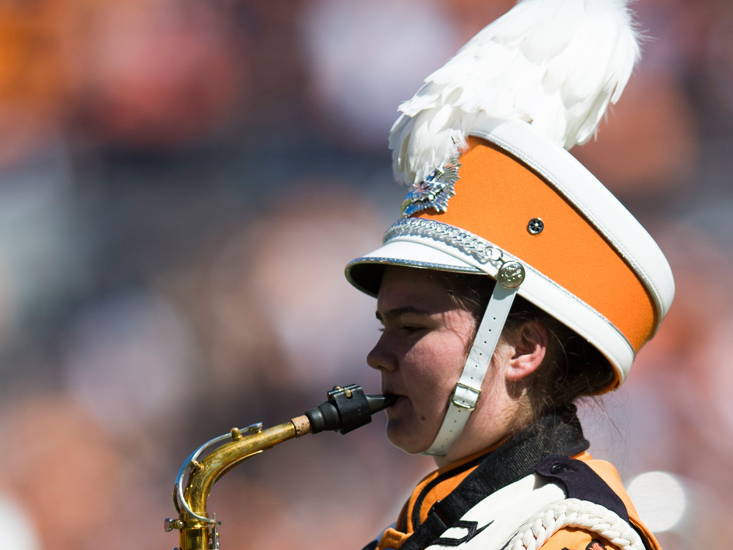 The Pride of the Southland Band performs at halftime during a game between Tennessee and Auburn at Jordan-Hare Stadium in Auburn, Alabama on Saturday, October 13, 2018.