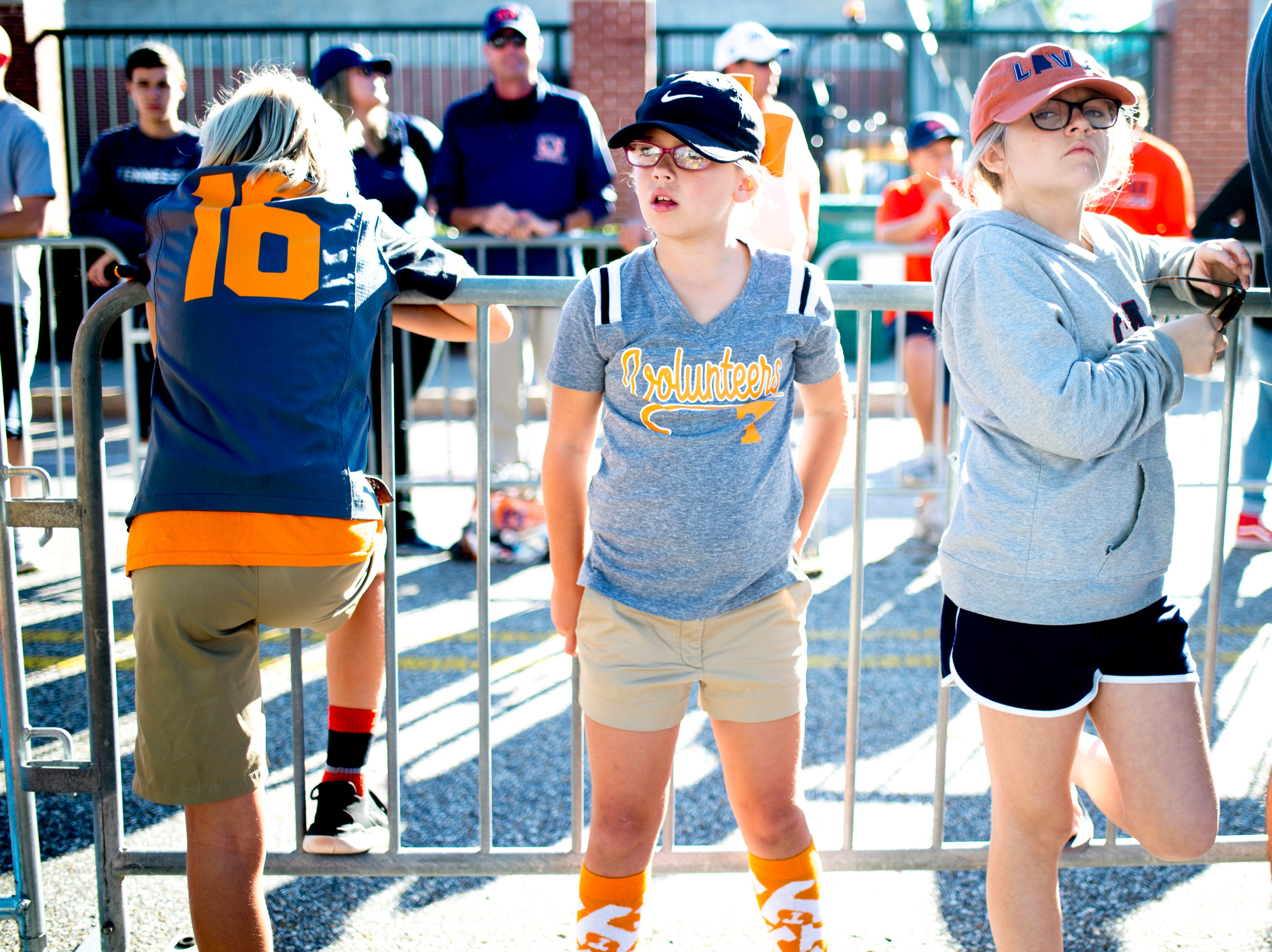 Vol fans hang out outside of the stadium during a game between Tennessee and Auburn at Jordan-Hare Stadium in Auburn, Alabama on Saturday, October 13, 2018.
