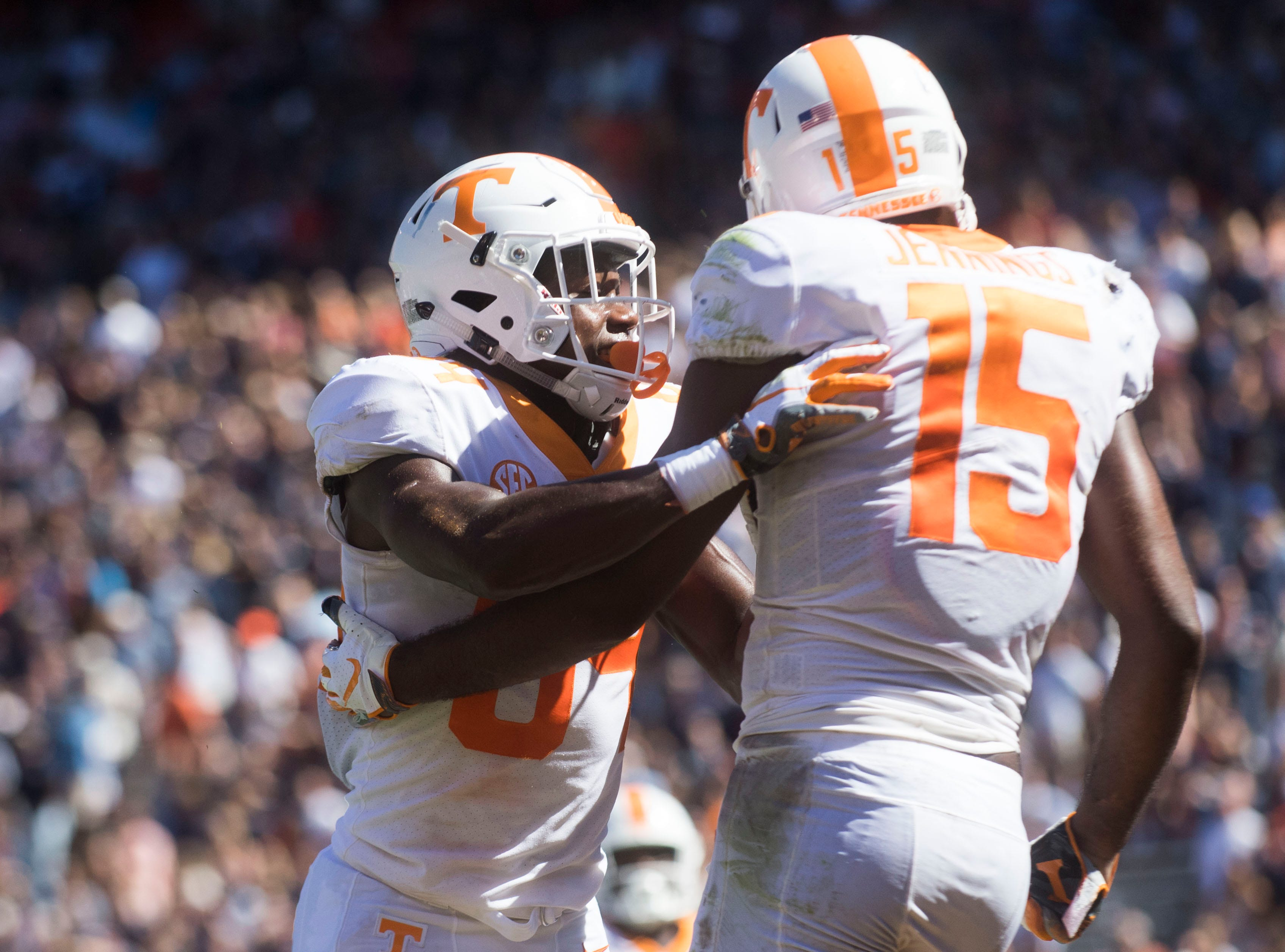 Tennessee wide receiver Josh Palmer (84) and Tennessee wide receiver Jauan Jennings (15) celebrate Jenning's touch down during a game between Tennessee and Auburn at Jordan-Hare Stadium in Auburn, Ala. Saturday, Oct. 13, 2018. Tennessee defeated Auburn 30-24.