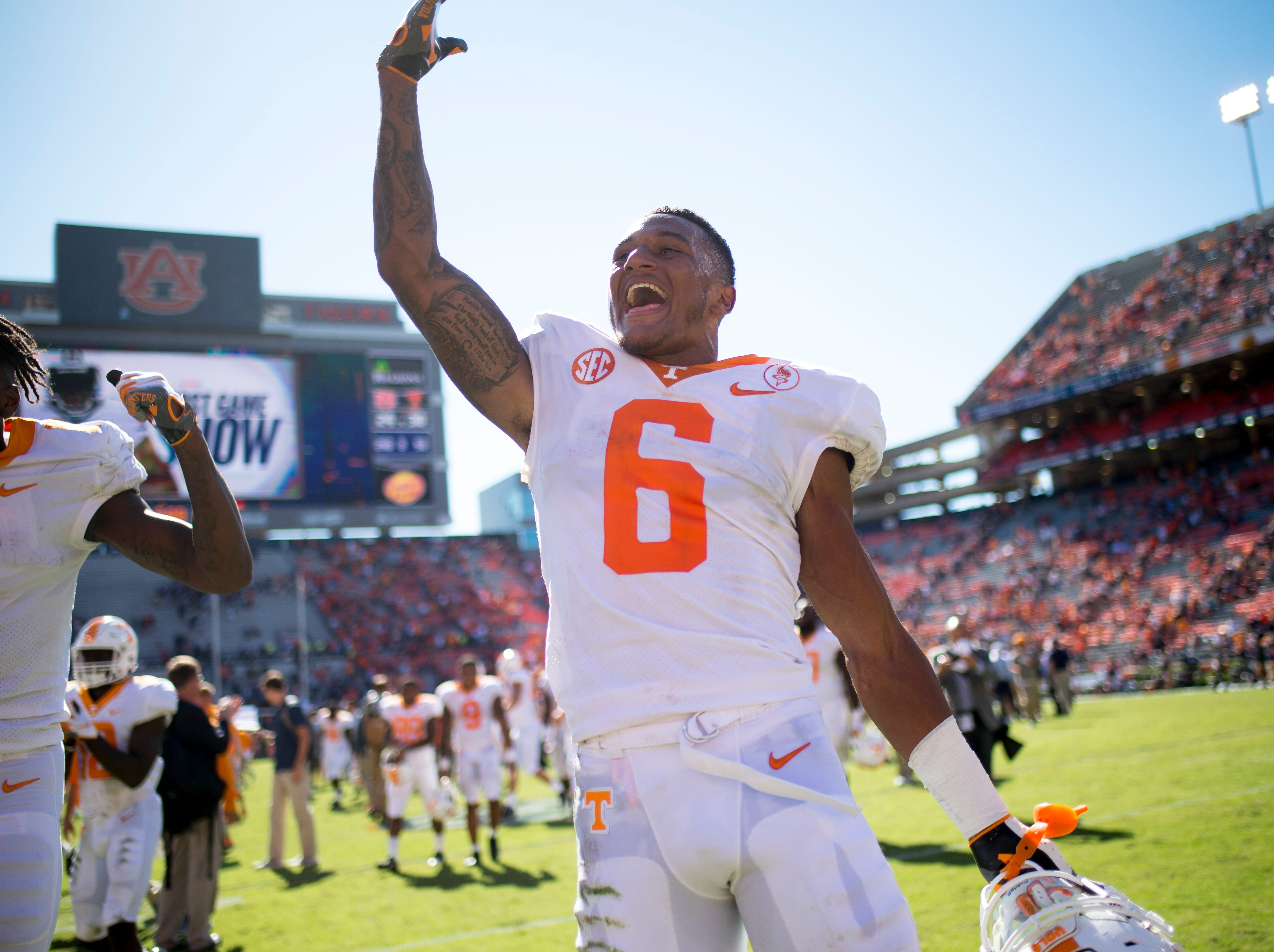 Tennessee defensive back/wide receiver Alontae Taylor (6) celebrates their 30-24 win over Auburn at Jordan-Hare Stadium in Auburn, Alabama on Saturday, October 13, 2018.