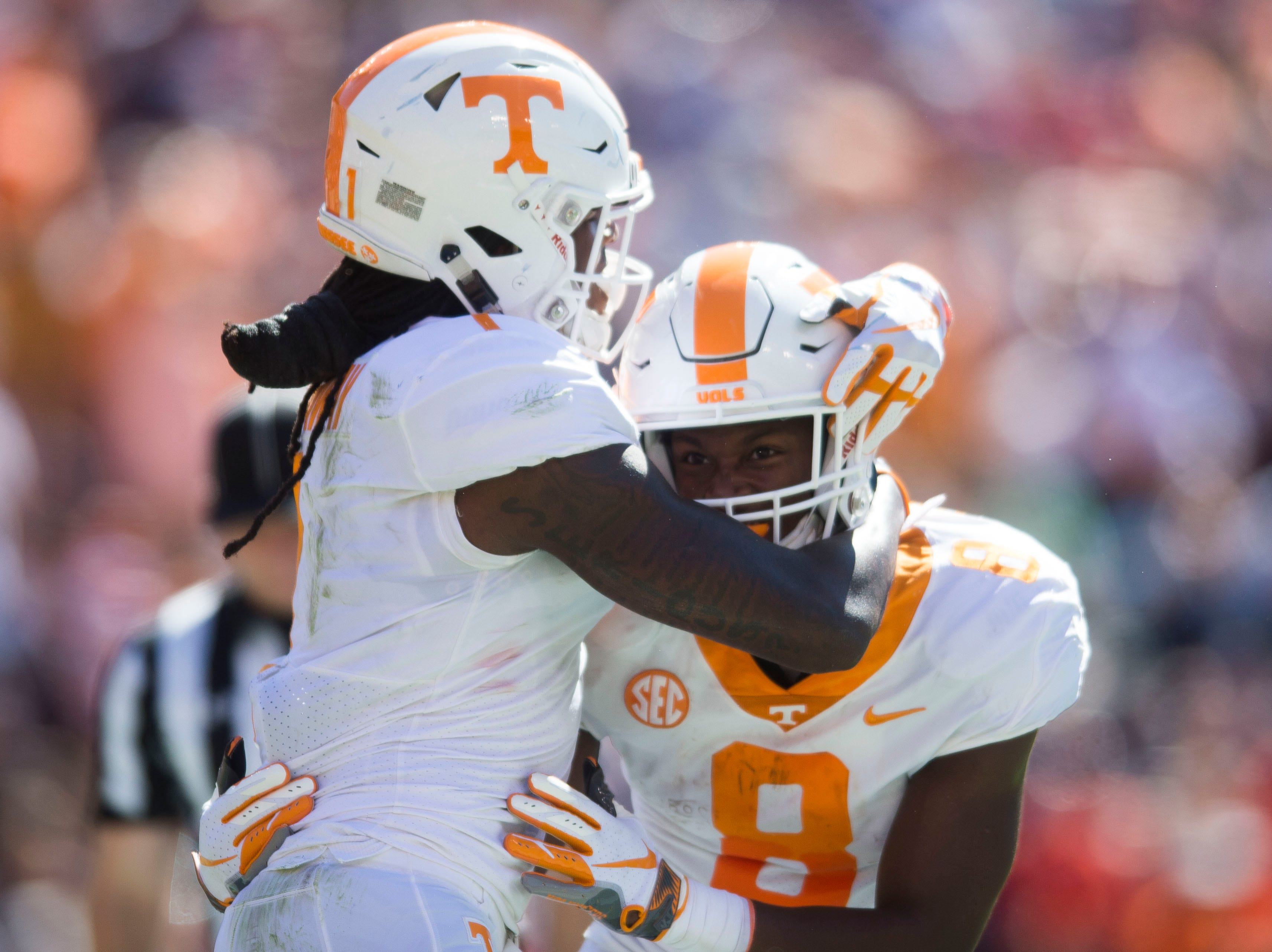 Tennessee wide receiver Marquez Callaway (1)  celebrates Tennessee running back Ty Chandler's touchdown during a game between Tennessee and Auburn at Jordan-Hare Stadium in Auburn, Ala. Saturday, Oct. 13, 2018.