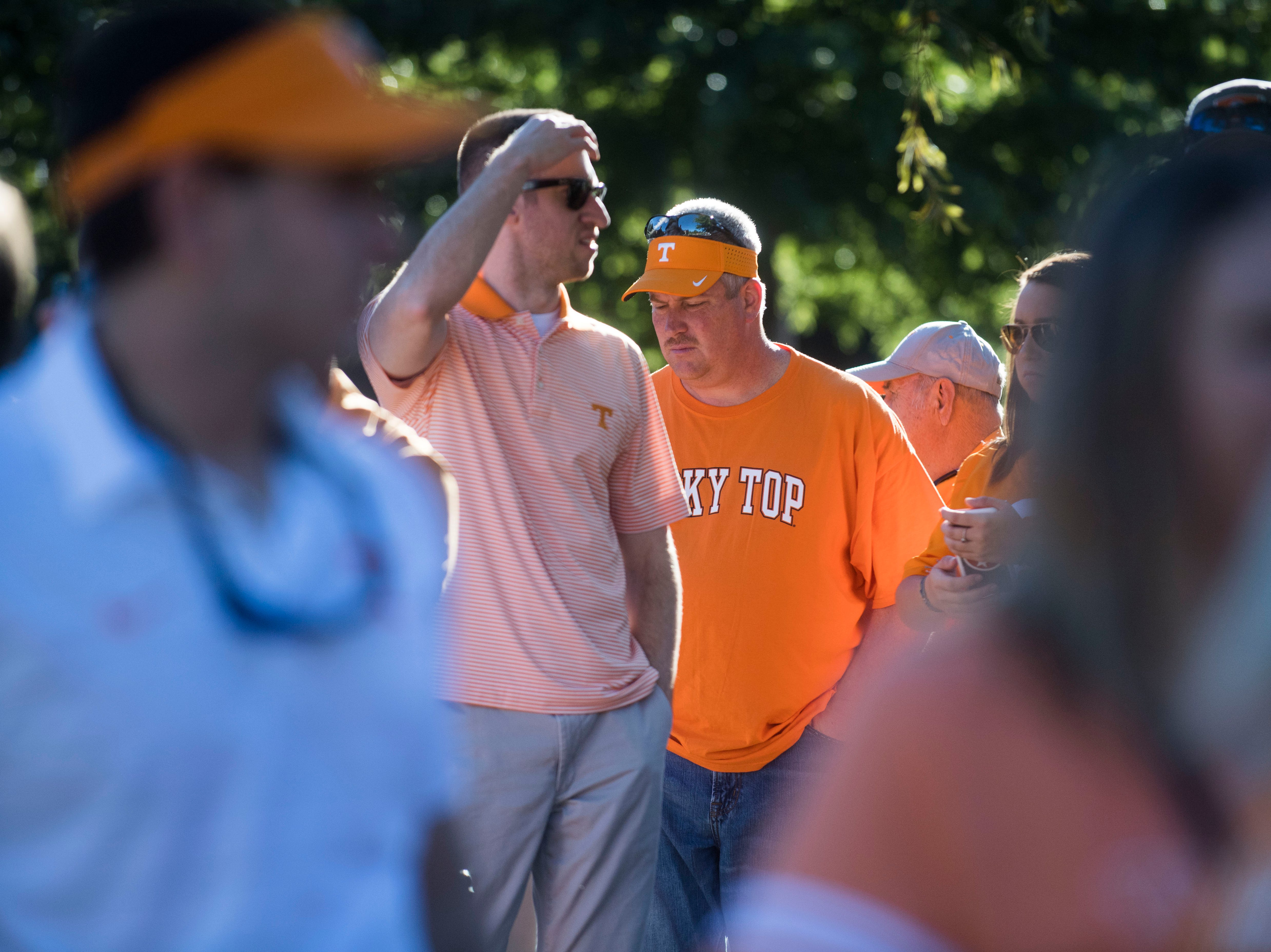 Vols fans congregate before a game between Tennessee and Auburn at Jordan-Hare Stadium in Auburn, Ala. Saturday, Oct. 13, 2018.